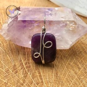 Lepidolite Rectangle Silver Wire Wrapped Pendant